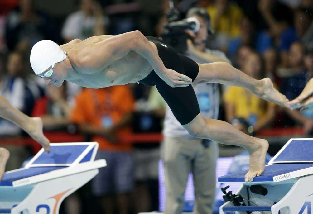 Ryan Lochte starts in the men's 200-meter freestyle