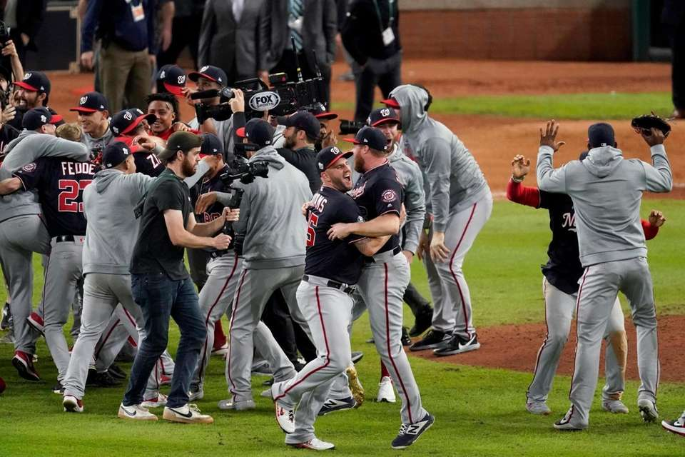 Washington Nationals celebrate after Game 7 of the