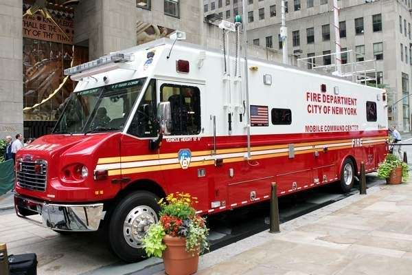 An FDNY mobile command unit is seen in