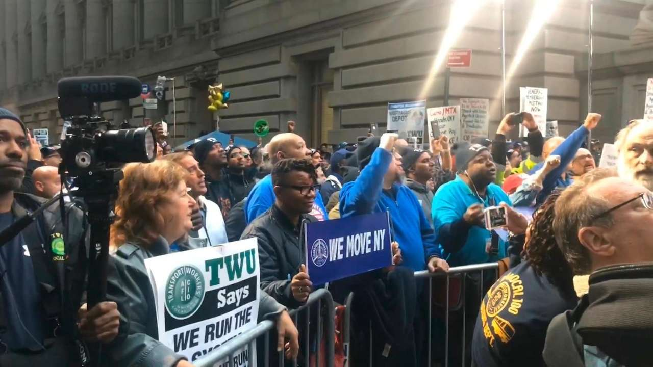 On Wednesday, thousands of transit workers gathered outside