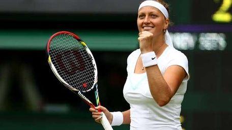 Petra Kvitova of the Czech Republic celebrates match