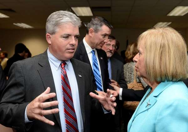 Suffolk County Executive Steve Bellone speaks with Suffolk