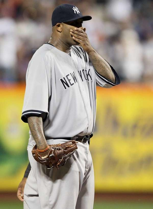 CC Sabathia of the New York Yankees reacts