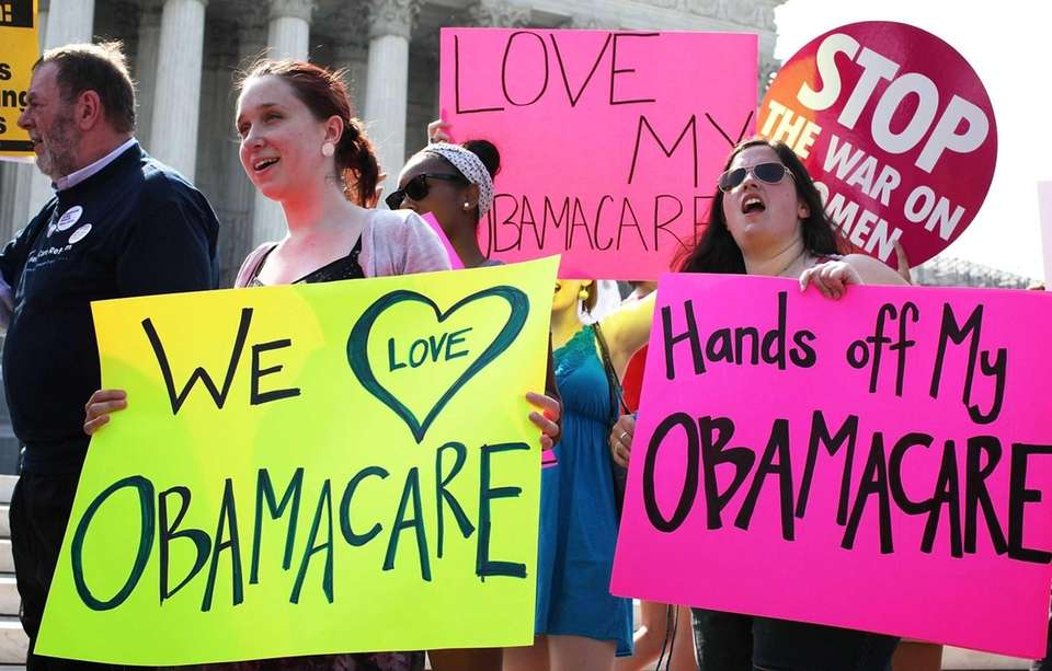 Supporters and opponents of President Obama's health care