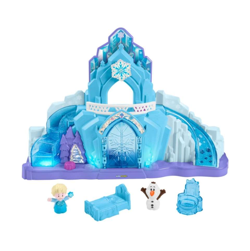Elsa's ice blue castle features many buttons that
