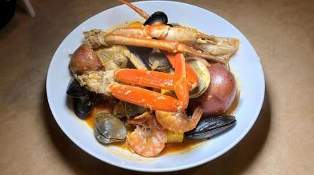 Seafood boiled in a seasoned broth was the
