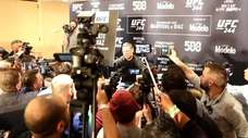 Nate Diaz answers questions during UFC 244 media