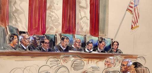 An artist's rendering shows Chief Justice John Roberts,