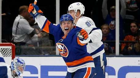 Anthony Beauvillier of the Islanders celebrates a second