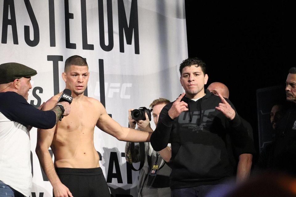 Nate Diaz (center) and Nick Diaz appear at
