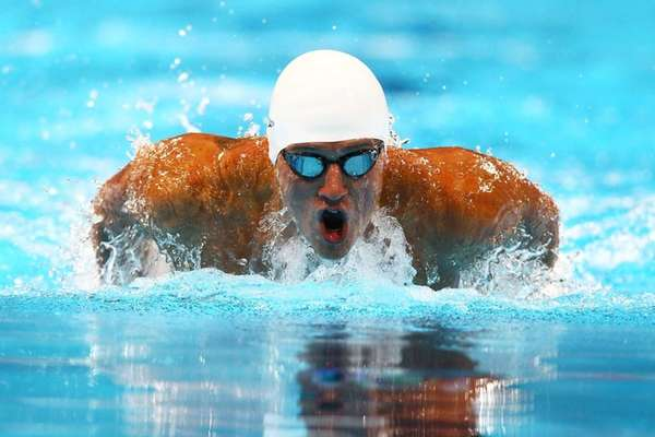 Ryan Lochte competes in preliminary heat 13 of