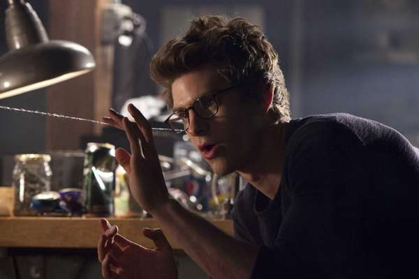 In this film image, Andrew Garfield portrays Peter