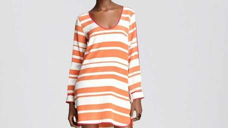 Worn with flats, this sassy coral stripe long-sleeved