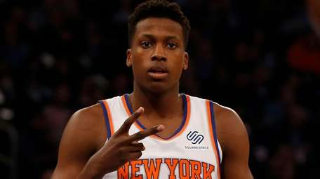 Frank Ntilikina of the Knicks enters a game