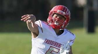 Connetquot's Drew Guttieri throws a pass in the