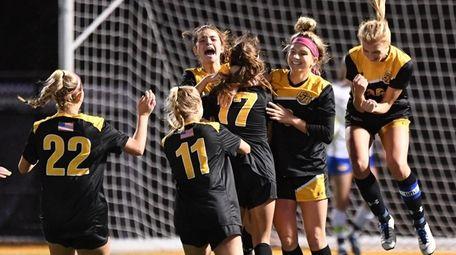 St Anthony's celebrates Olivia Perez's  goal during