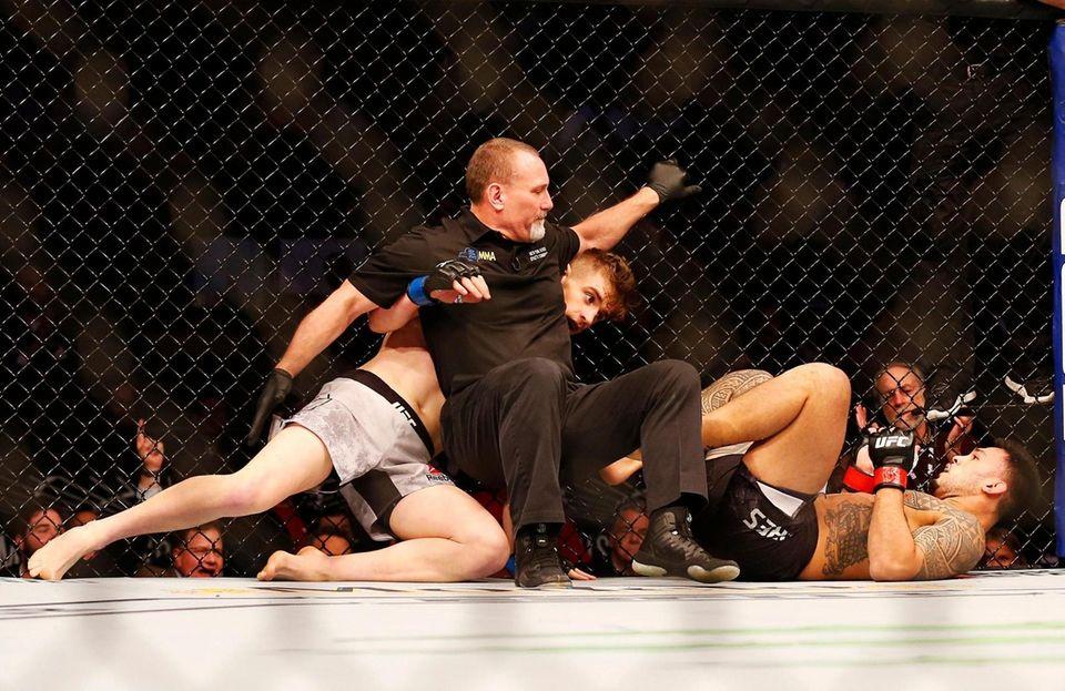 Edmen Shahbazyan (blue gloves) knocks out Brad Tavares