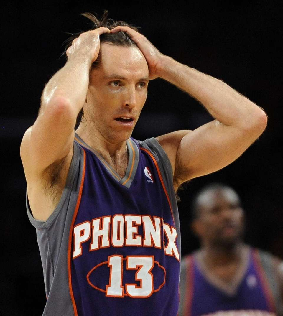 Phoenix Suns guard Steve Nash reacts during the