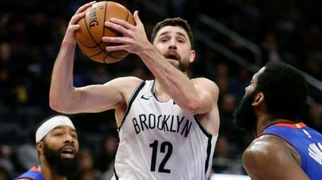 Nets' forward Joe Harris buried a three-pointer from