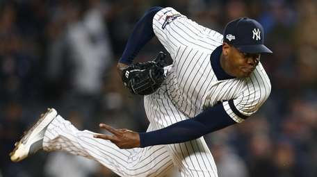 Aroldis Chapman of the Yankees throws a pitch