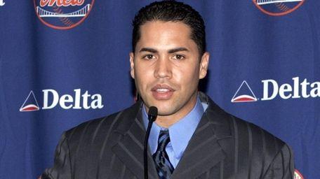 Carlos Beltran of the Mets speaks during a