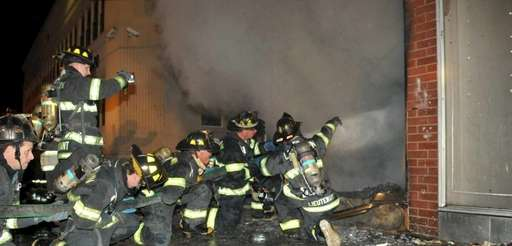Levittown firefighters battled this blaze early this morning