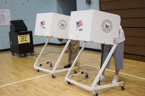 Voters at Mattituck Jr. Senior High School in