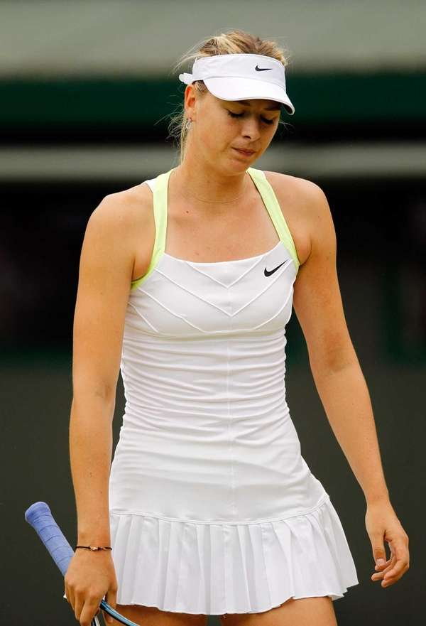 Maria Sharapova of Russia looks down during a