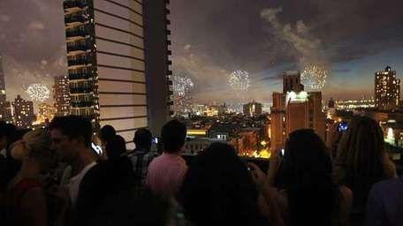 Rooftop view of the fireworks on July 4,