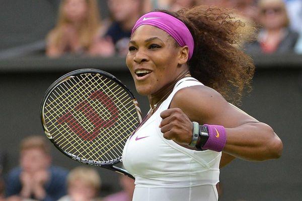 US player Serena Williams celebrates her women's singles