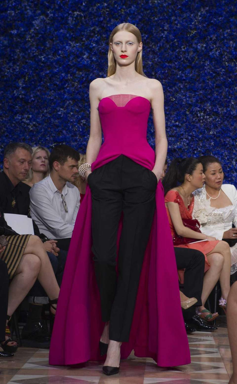 A model presents a creation by Belgian designer