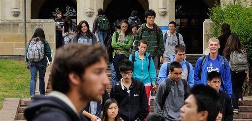 Students walk on campus. (April 23, 2012)