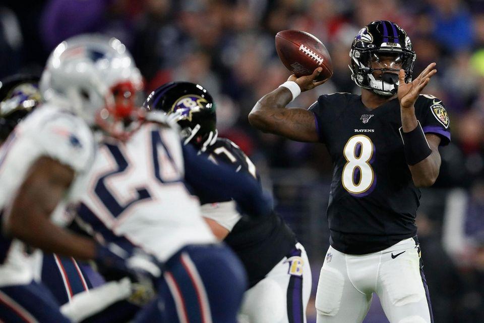 Quarterback Lamar Jackson of the Baltimore Ravens looks