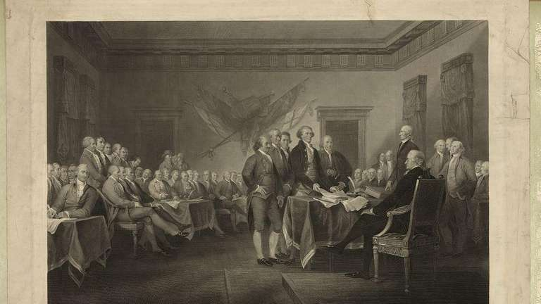 A painting of the signing of the Declaration