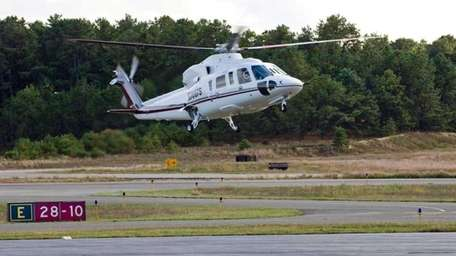 Helicopters arriving and departing at the East Hampton