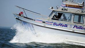 A Suffolk County Police Marine Bureau police boat