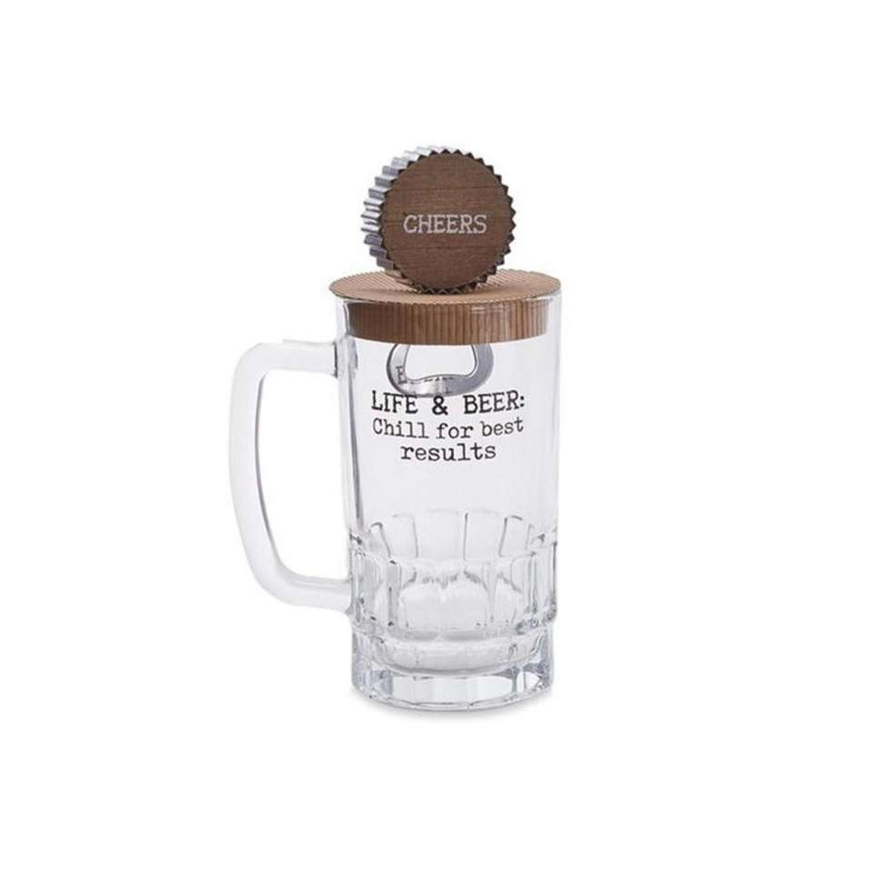 This beer mug and opener set includes all