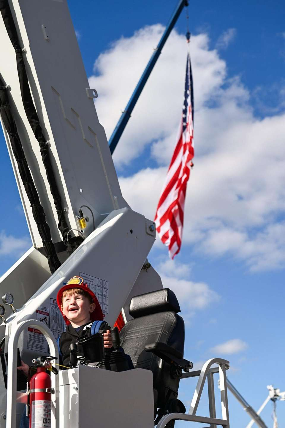Steve Walters III, 3, of Patchogue, explores a