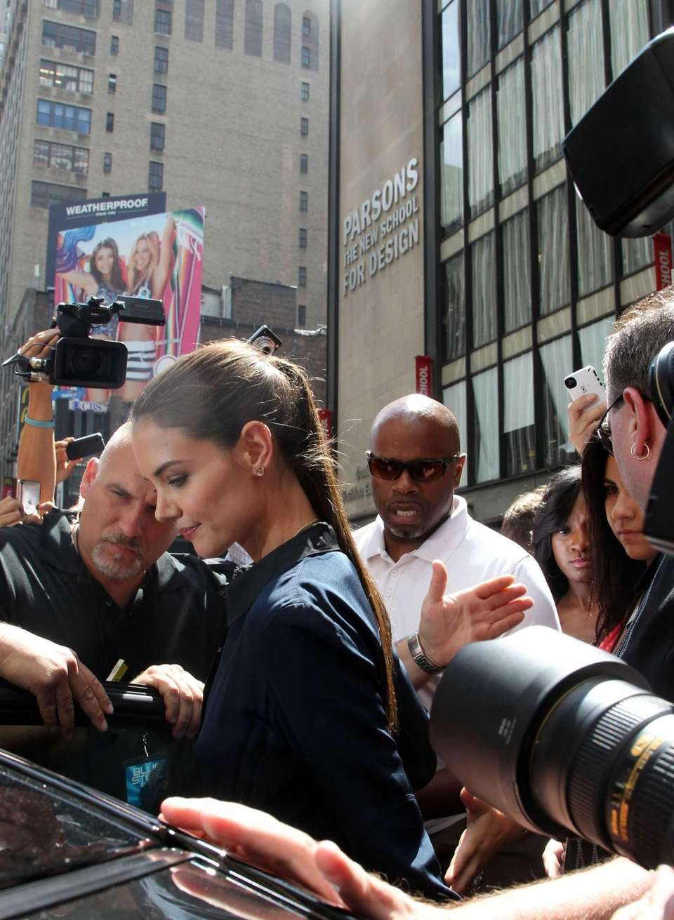 Katie Holmes leaves a TV studio on Times