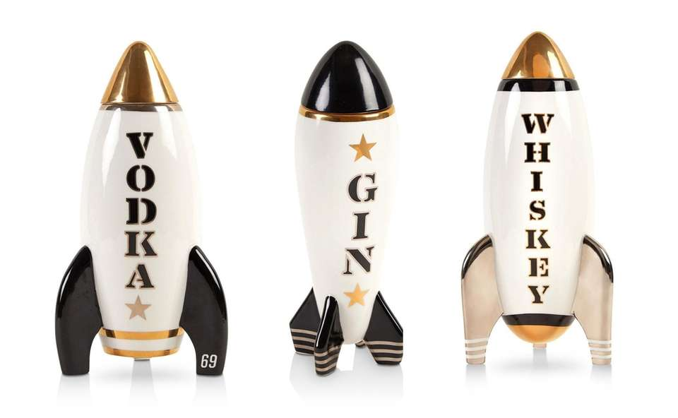 Rocket-style decanters for liquor are ready for take-off;