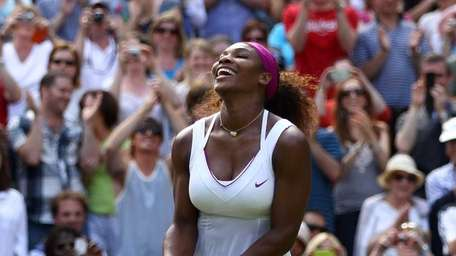 Serena Williams of the USA celebrates winning her