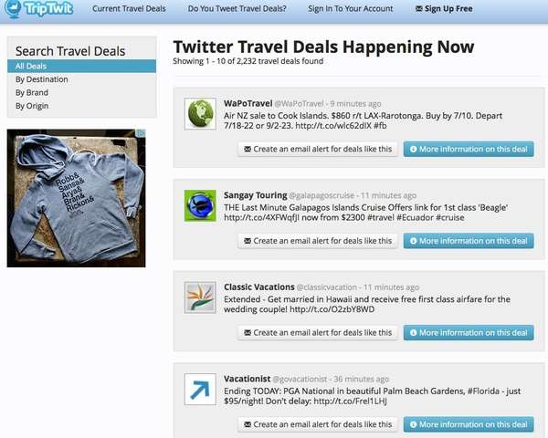 TripTwit.com searches travel deals on Twitter and emails