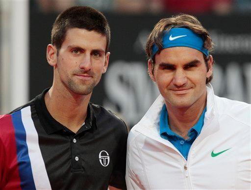 Serbia's Novak Djokovic, left, and Switzerland's Roger Federer