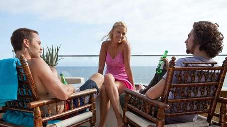Chon (Taylor Kitsch), left, O (Blake Lively), and