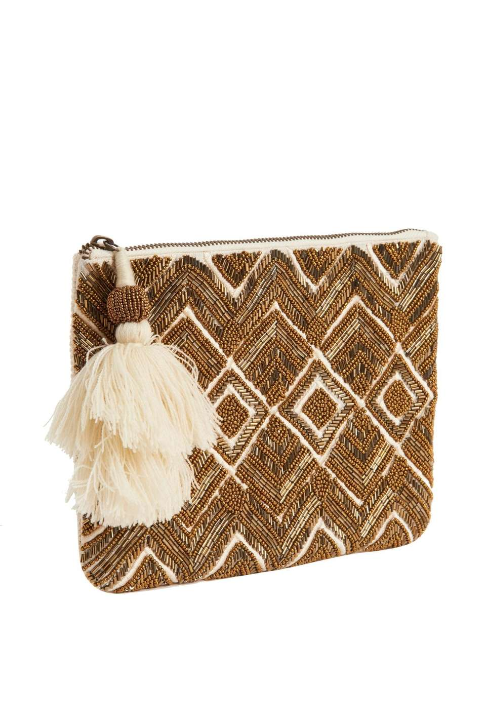 This Universal Thread clutch features intricate gold beading