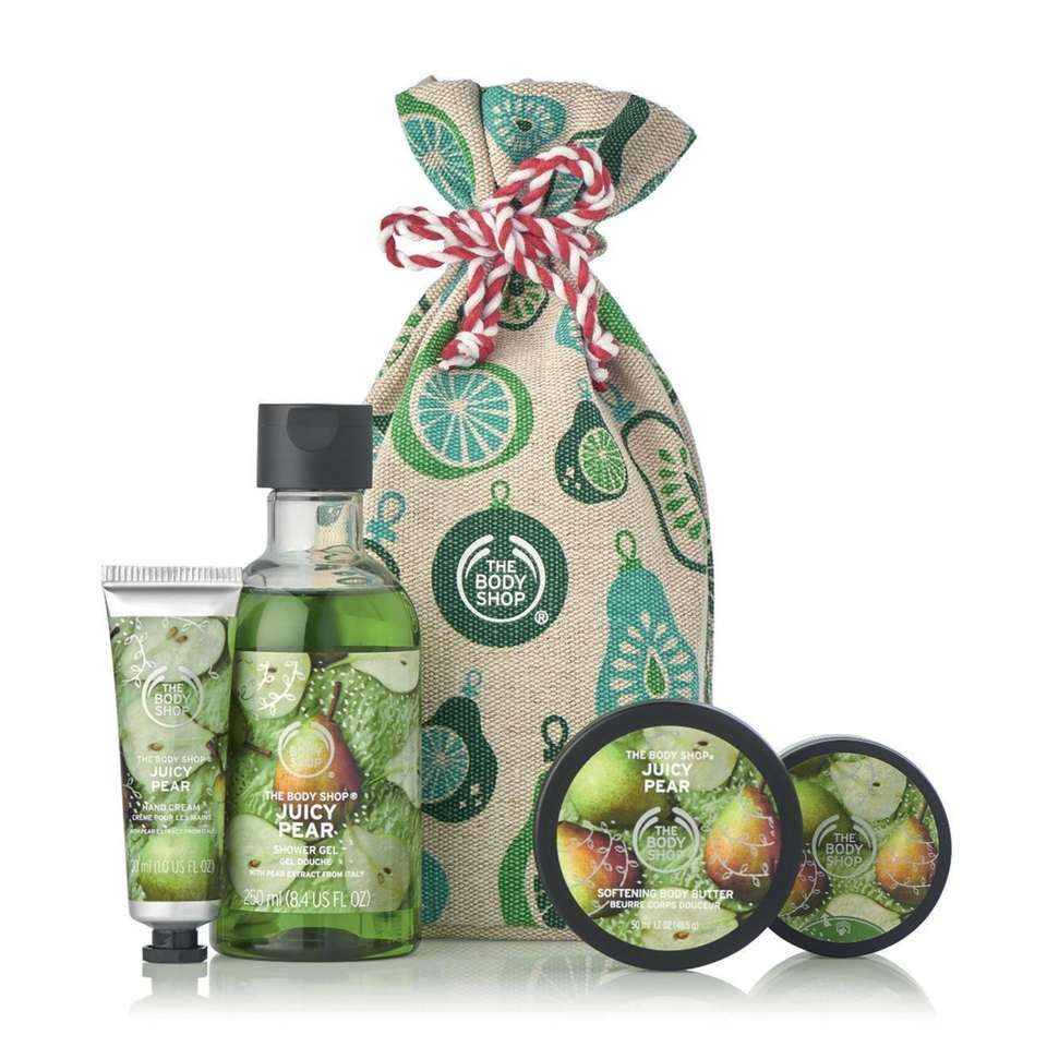 This special-edition Juicy Pear bundle features shower gel,