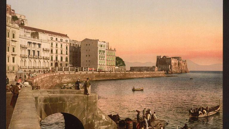 A photomechanical print of Via Partenope Street, Naples,