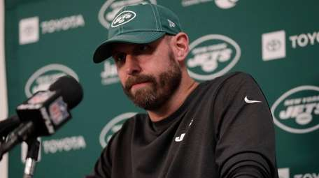 Jets head coach Adam Gase speaks during a