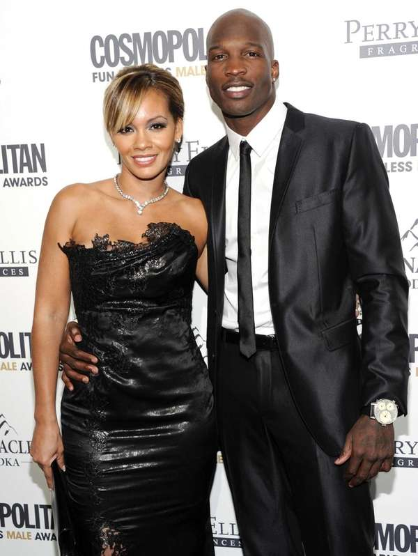 Chad Ochocinco with then-fiance Evelyn Lozada at Cosmopolitan