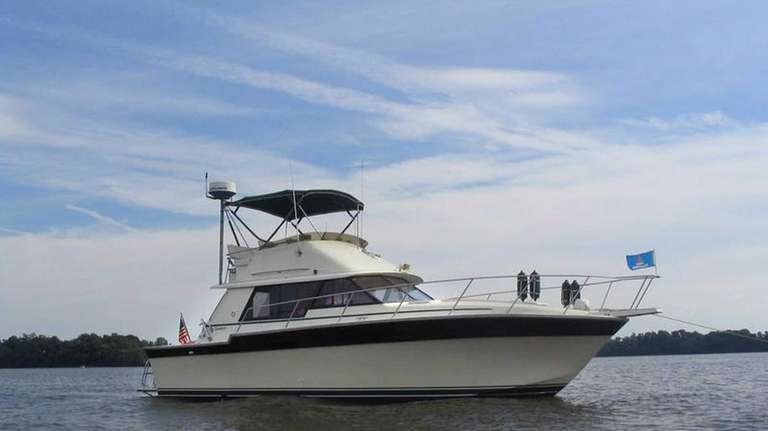 This is a1984 Silverton Convertible 34 cabin cruiser